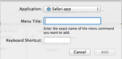 Keyboard Shortcut Safari