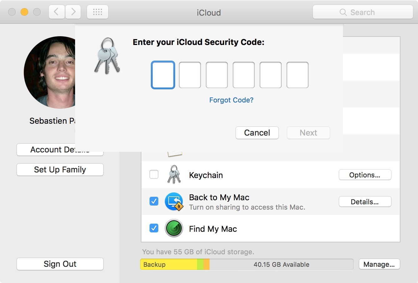 Mac ingresa el código de seguridad de icloud