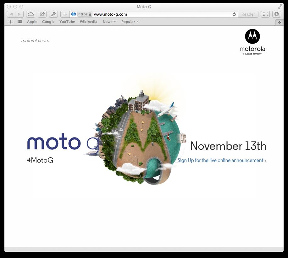 Moto G November 13 teaser webpage