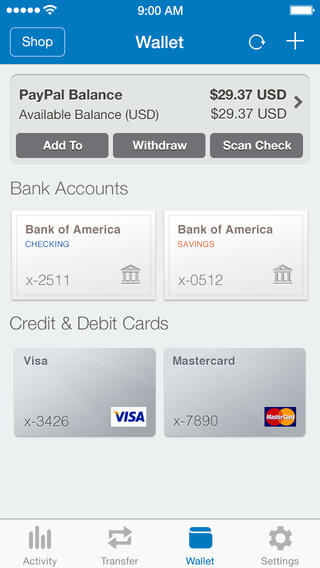 PayPal 5.2 for iOS (iPhone screenshot 003)