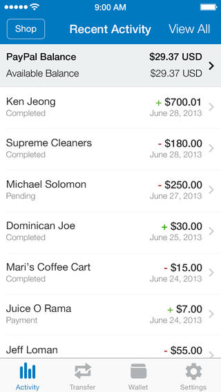 PayPal 5.2 for iOS (iPhone screenshot 004)