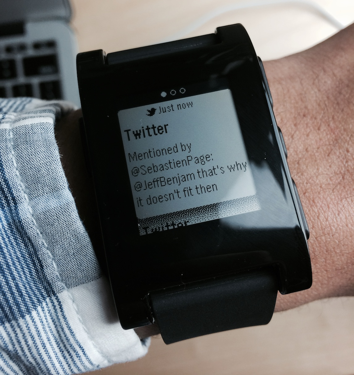 Pebble twitter alerts