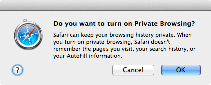 Private Browsing popup