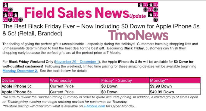 T-Mobile iPhone Black Friday deal