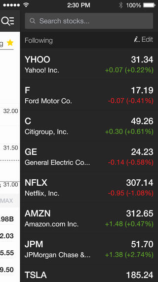 Yahoo Finance 2.0 for iOS (iPhone screenshot 003)