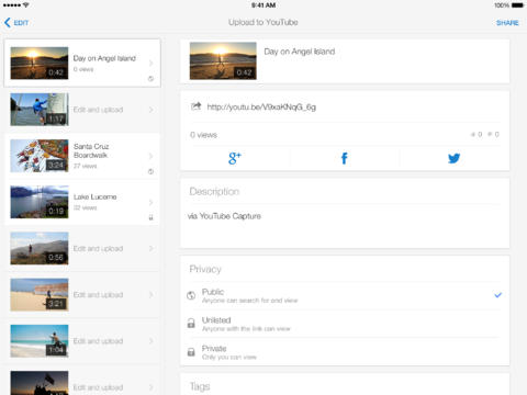 YouTube Capture 2.0 for iOS (iPad screenshot 001)