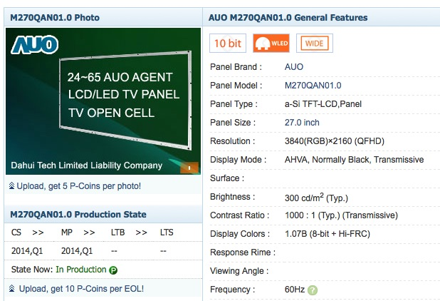 auo 4k panel listing