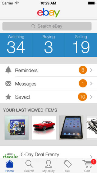 eBay 3.2 for iOS (iPhone screenshot 001)