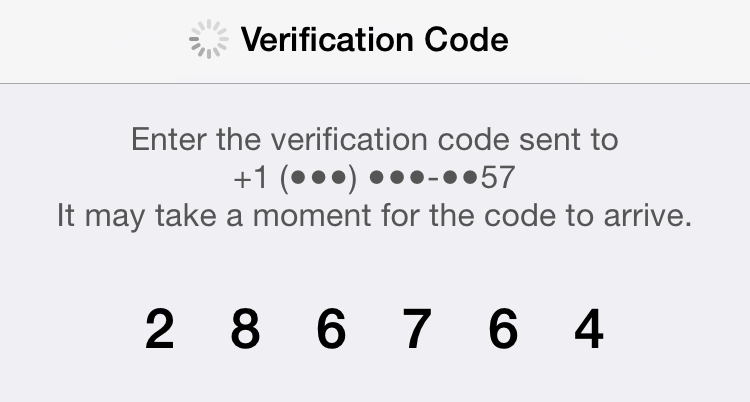 ingrese el código de verificación de icloud
