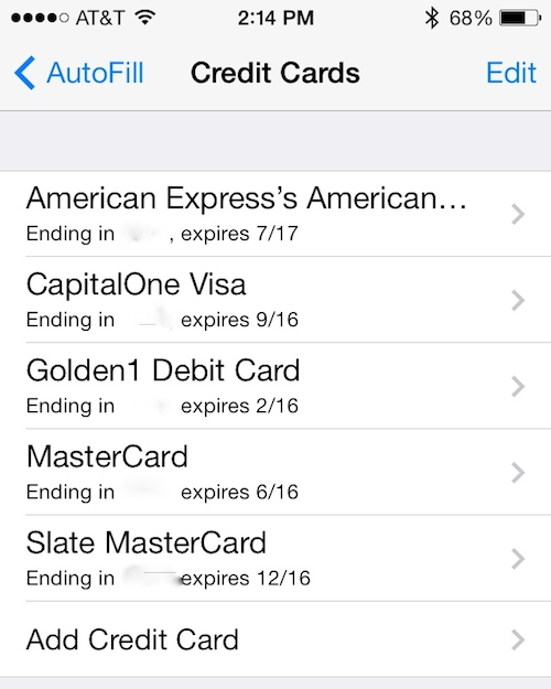 How to add credit card information to iCloud Keychain