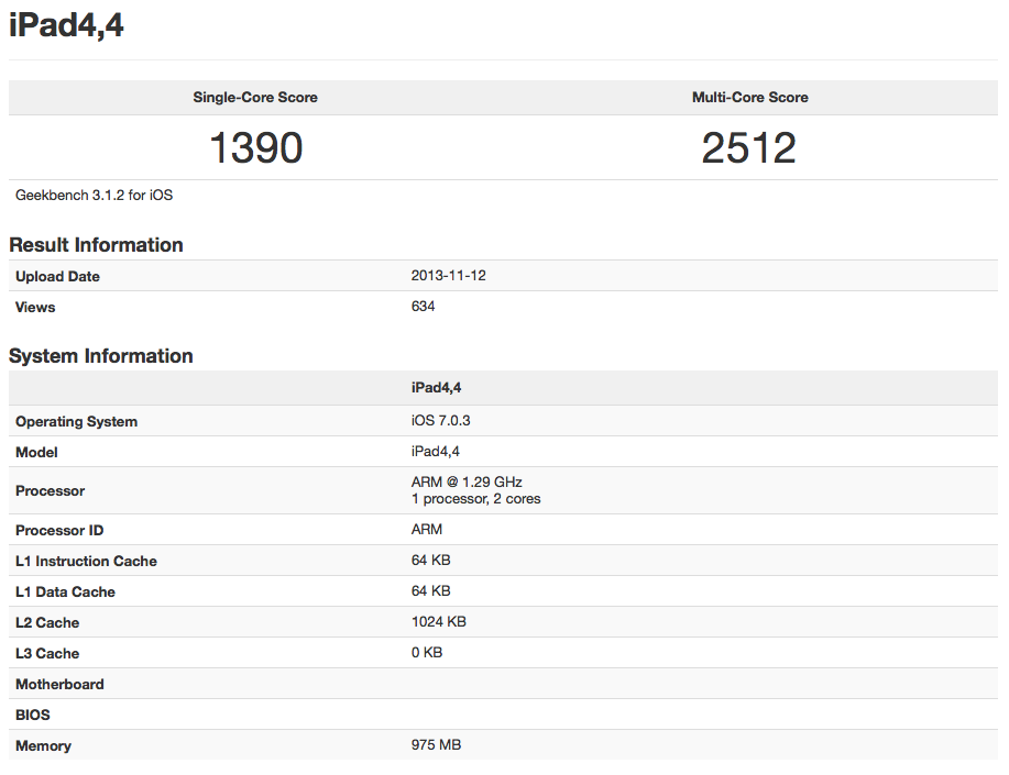 iPad mini 2 (Retina, Geekbench 001)