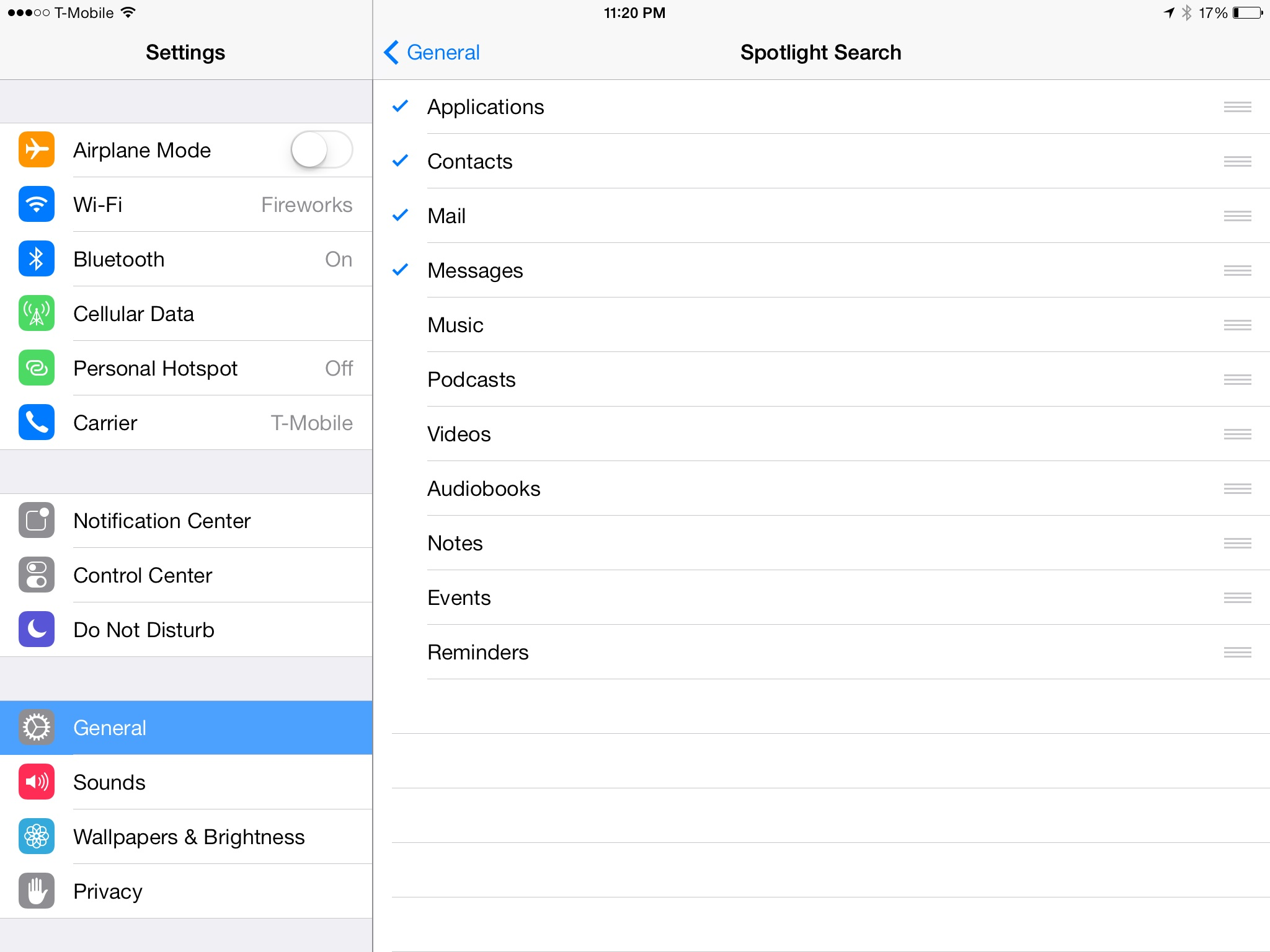 Spotlight search options
