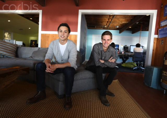 Snapchat co-creators Evan Spiegel and Bobby Murphy