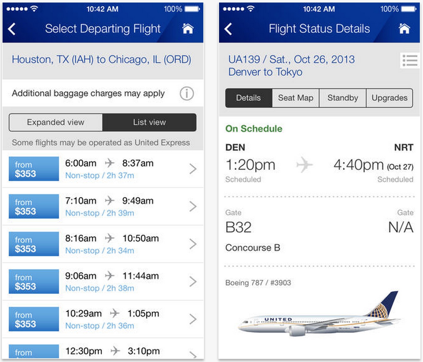 United Airlines app updated with new in-flight streaming