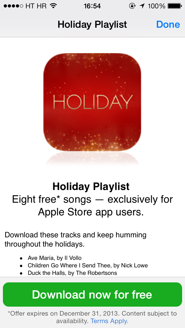 Apple 2013 Holiday Playlist (Apple Store app, iPhone screenshot 002)