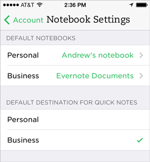 Evernote Business Notes