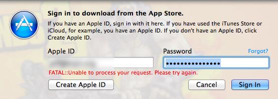 Fatal Error Mac App Store