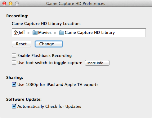 Game Capture HD Destination Folder