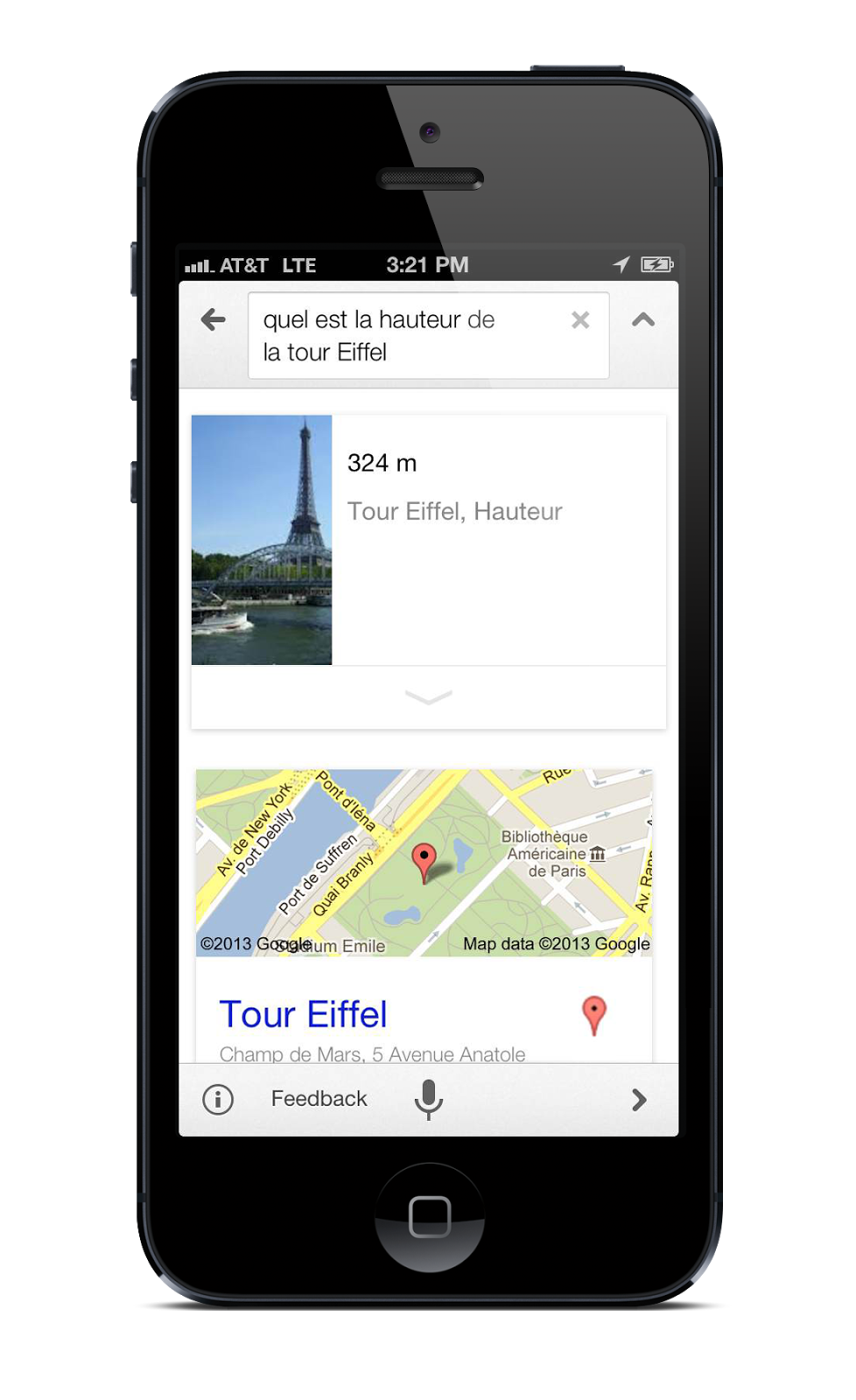 Google Search 3.1 for iOS (iPhone screenshot, French, Eiffel Tower)