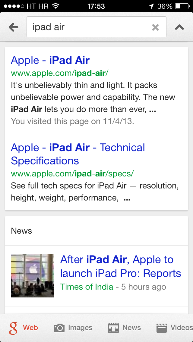 Google Search 3.2 for iOS (iPhone screenshot 001)