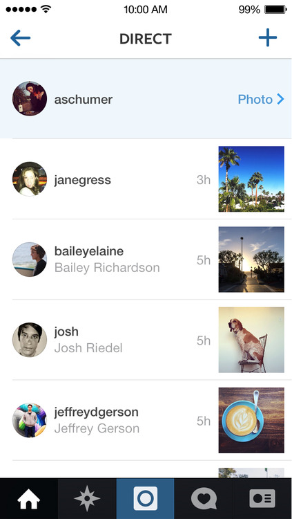 Instagram Direct (iPhone screenshot 002)