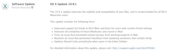 OSX 10.9.1 Change Log
