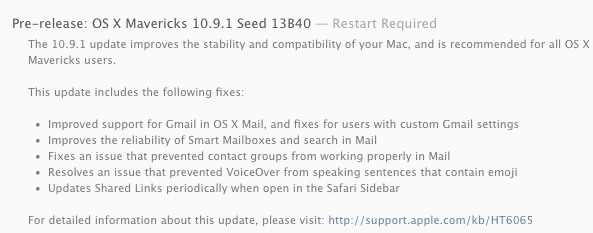 Release Notes 10.9.1 13B40