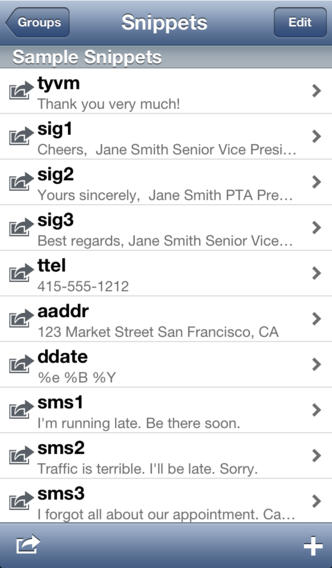 TextExpander 2.3 for iOS (iPhone screenshot 001)