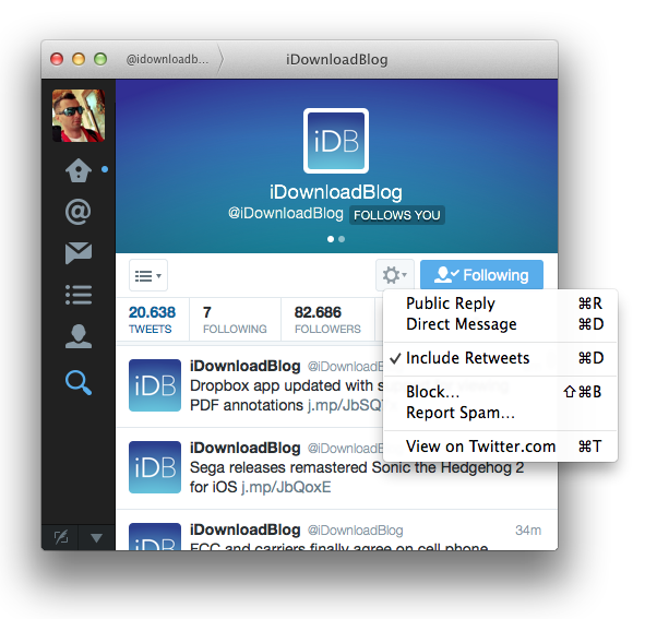 Twitter for Mac 3.0 (Profile view 002)