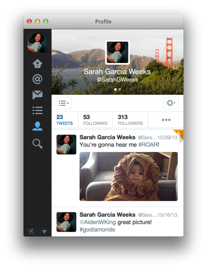 Twitter for Mac 3.0 (Profile view)