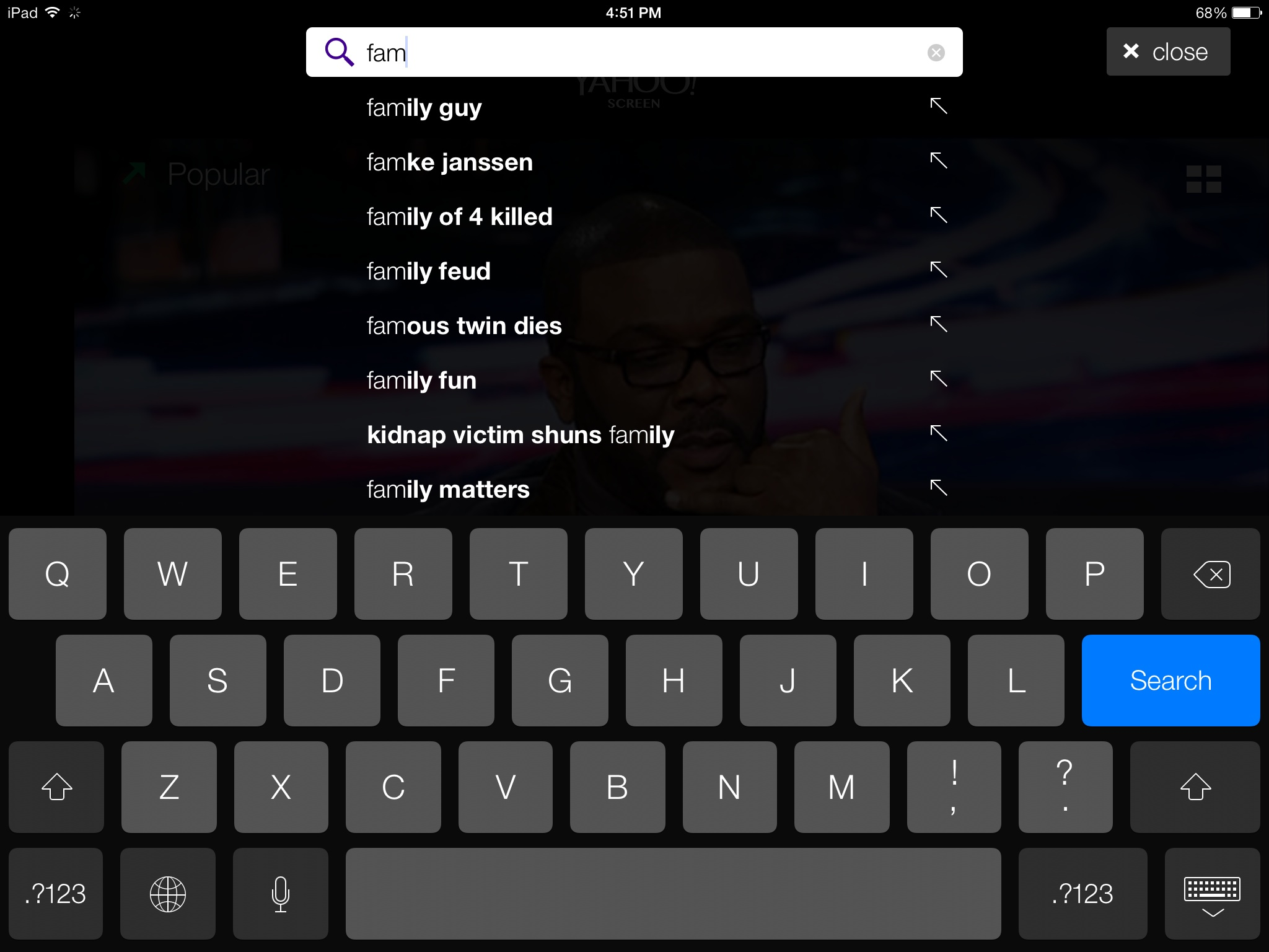 Yahoo screen 1.1 for iOS (iPad screenshot 003)
