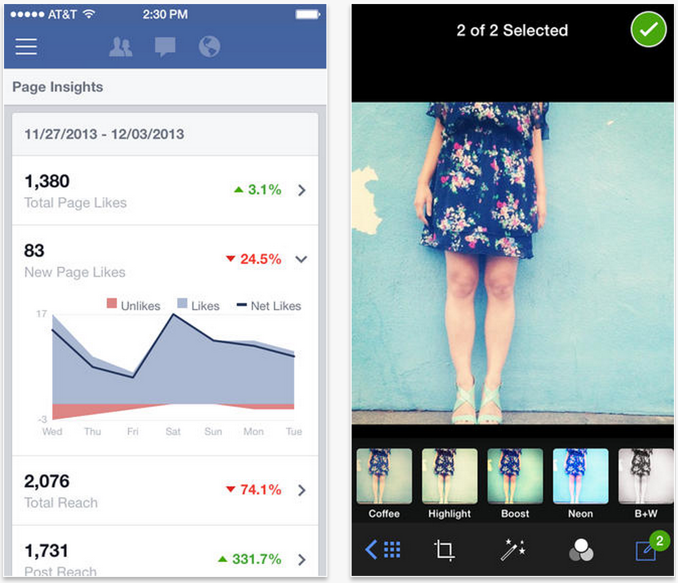 facebook pages ios 7 2