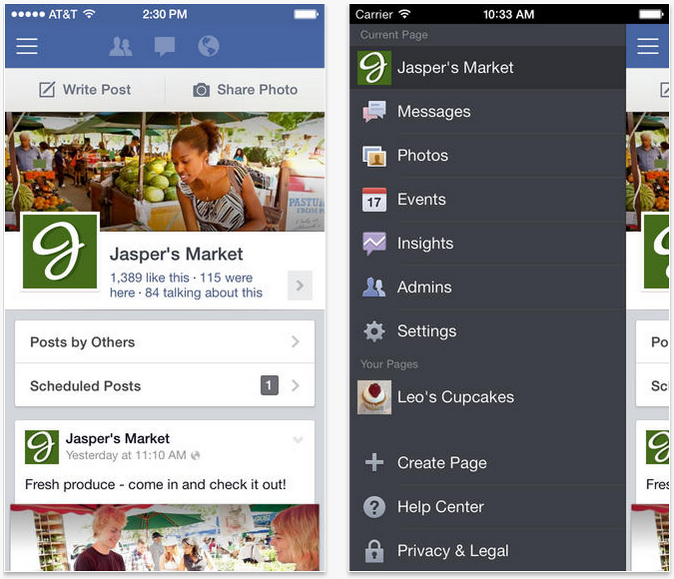 facebook pages ios 7 3