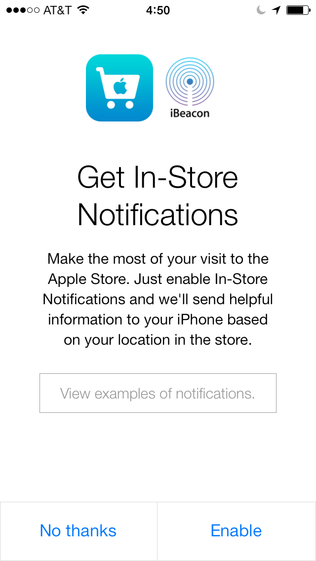 iBeacons Apple Store app (iPhone screenshot 001)