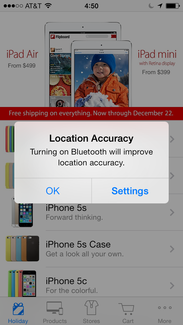 iBeacons Apple Store app (iPhone screenshot 002)