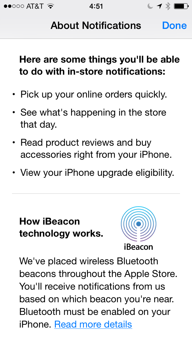 iBeacons Apple Store app (iPhone screenshot 003)