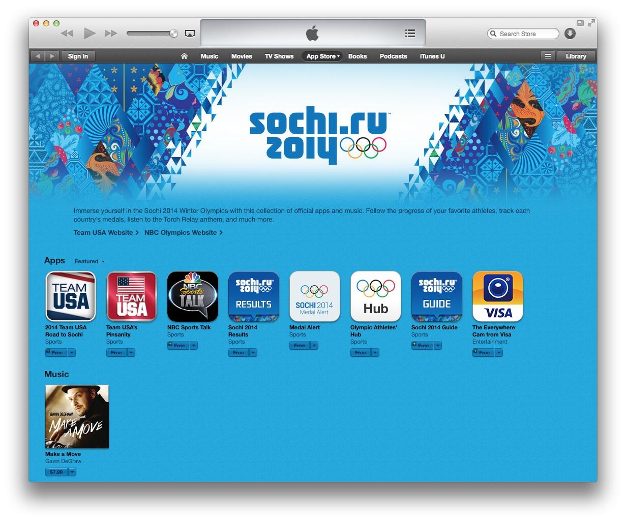 App Store Sochi 2014 (captura de pantalla 001 de iTunes)