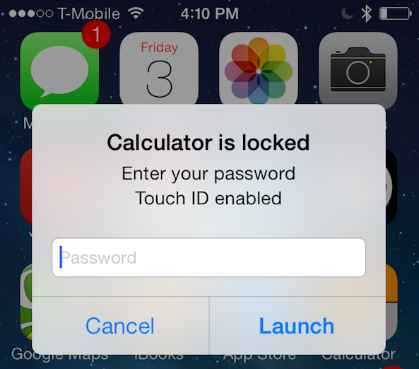 How to lock apps in iphone 5s using touch id