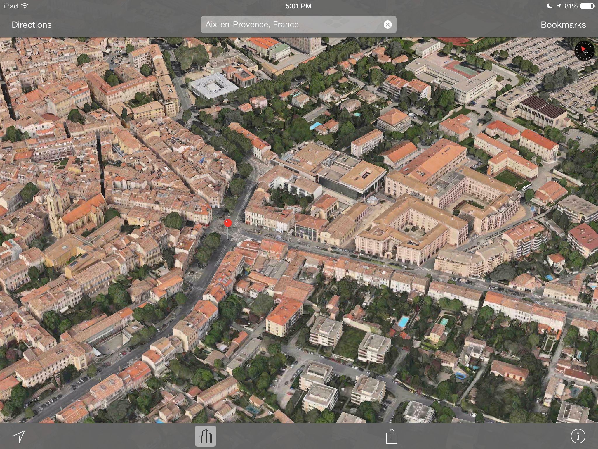 Apple Maps 3D Flyover (Aix-en-Provence, France, iPhone screenshot 002)