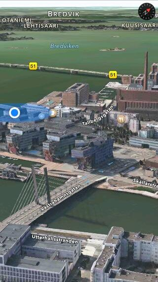 Apple Maps 3D Flyover (Helsinki, Finland, iPhone screenshot 001)