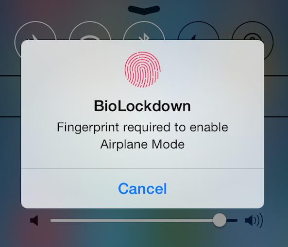 BioLockdown Airplane mode