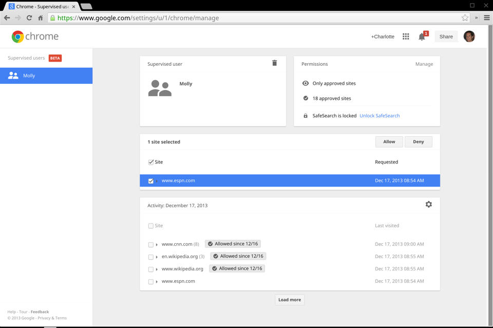 Chrome 32 (supervised user dashboard, screenshot 001)