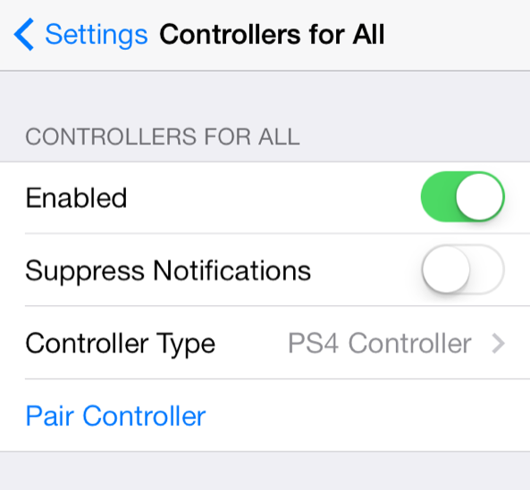 Controllers for All Settings