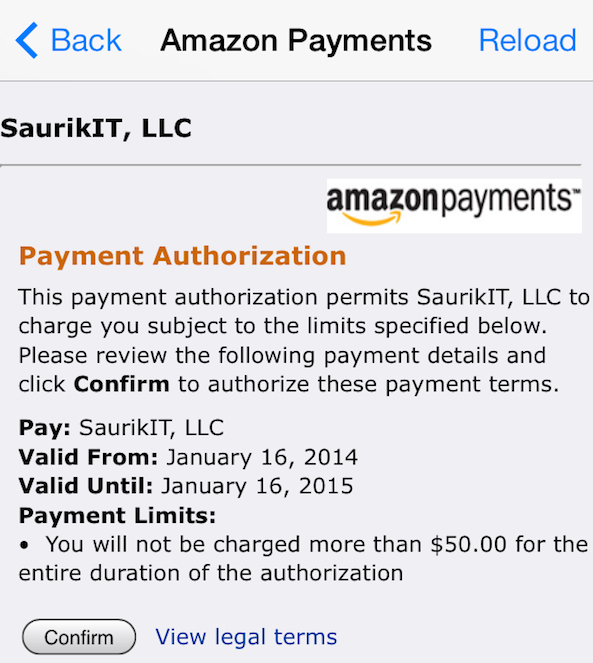 Cydia Amazon Payments Confirm