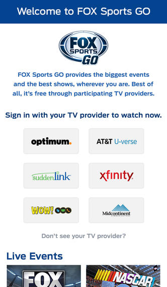 Fox Sports Go 1.1 for iOS (iPhone screenshot 002)