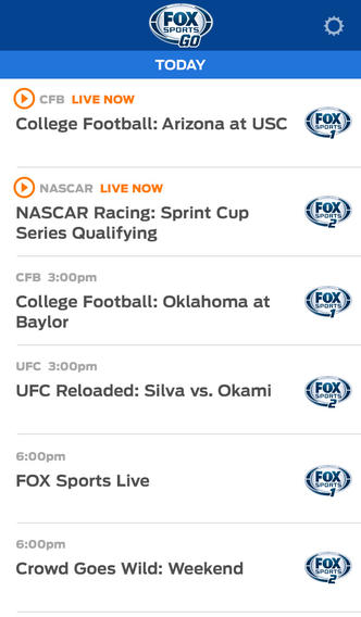 Fox Sports Go 1.1 for iOS (iPhone screenshot 003)