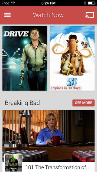 Google Play Movies & TV 1.0 for iOS (iPhone screenshot 001)