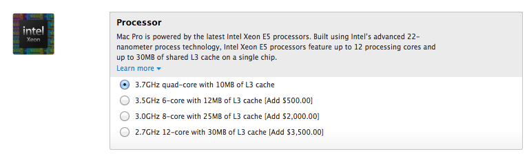 Mac Pro (CPU upgrades, Online Apple Store)