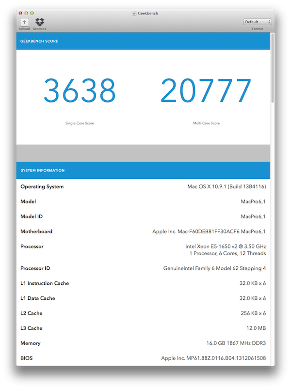 Mac Pro (Geekbench, original CPU, OWC 001)