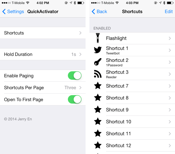 Quick Activator Settings